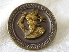 Large ANTIQUE Metal Warrior BUTTON by abandc on Etsy