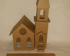 Vintage Church #2- Putz Style Cardboard House