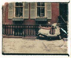 Polaroid transfer print of a vespa--