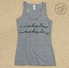 Inhale Love Exhale Fear Fitted Tri-blend Tank in Heather Grey / Charcoal...Gym Tank,  Graphic t-shirt, Workout Tank, Workout Top, Holy Yoga