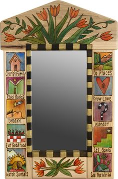"""Small Mirror – """"Cherish Family/Know Love"""" mirror with tulip motif Funky Painted Furniture, Painted Chairs, Paint Furniture, Mirror Painting, Tole Painting, Painting On Wood, Mirror Mosaic, Diy Mirror, Mirror Ideas"""