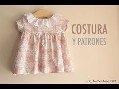 FREE dress pattern (in Spanish) Baby Dress Tutorials, Baby Dress Patterns, Sewing Kids Clothes, Baby Sewing, Couture Bb, Clothing Patterns, Kids Outfits, Kids Fashion, Diy Vestido
