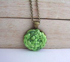 Light green necklace fiber crochet art minimalist by Deconfetti,