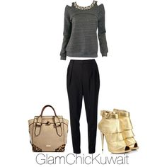 """Gold shoes"" by glamchicq8 on Polyvore"