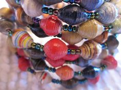 Multicolored Paper Bead Bracelet from Uganda by MyScarfBoutique