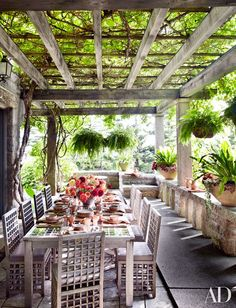 Outdoor dining patio with gorgeous, kiwi vine-covered pergola. Outdoor Seating, Outdoor Rooms, Outdoor Dining, Outdoor Gardens, Outdoor Patios, Outdoor Kitchens, Dining Area, Dining Table, Outdoor Tables