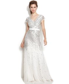 1920s Wedding Dresses for Sale. Adrianna Papell Cap-Sleeve Sequined Gown $299.00  #1920swedding #weddingdress