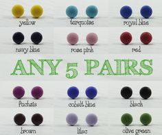 Any 5 Pairs  Choose Your Colors  Matte Small Stud by biesge, $30.00