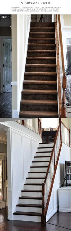 Beautiful stair makeover! Removed the carpet and added white picture frame molding as wainscoting