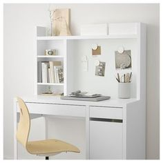 IKEA - MICKE, Add-on unit-high, white, Extra room above the top shelf where you can keep your books, CDs or DVDs. The side panels act as bookends and keep everything in place. Fits MICKE desk This product has been developed and tested for domestic use. Study Room Decor, Teen Room Decor, Dorm Desk Decor, Cute Desk Decor, Desk Decorations, Study Rooms, Bedroom Desk, Room Ideas Bedroom, Ikea Bedroom Design