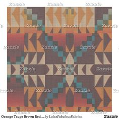 Orange Taupe Brown Red Teal Blue Ethnic Look Fabric Red And Teal, Teal Blue, Bohemian Fabric, Ethnic Looks, Custom Fabric, Crafts To Make, Printing On Fabric, Taupe