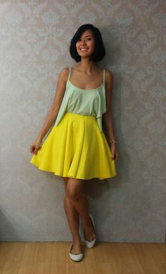 [Uber OOTD:May08-2014] mint top and yellow skirt from Apartment 8