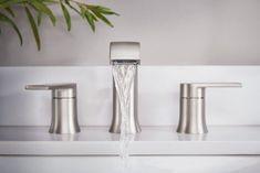 Genta™ Two-Handle Bathroom Faucet in Spot Resist Brushed Nickel Modern Bathroom Faucets, Steam Showers Bathroom, Modern Bathroom Design, Bathroom Flooring, Bathroom Interior, Bathroom Cabinets, Bathroom Mirrors, Master Bathrooms, Small Bathrooms
