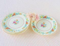 Crooksville China Saucers  Set of 5  Vintage by RosebudsOriginals, $14.95