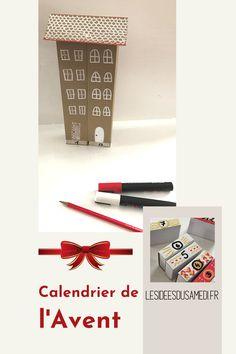 Utilisez des boites d'allumettes et du papier cartonné pour fabriquer un calendrier de l'Avent avec vos enfants. Theme Noel, Magazine Rack, Packing, Advent House, Card Stock, Seed Packets, Bag Packaging