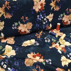 A gorgeous and luxurious light-weight polyester fabric that is soft and drapes well. It is suitable for a wide range of dressmaking projects such as dresses, skirts and blouses. Sew Over It, Navy Blue Background, Crepe Fabric, Dressmaking, Digital Prints, Floral Prints, Blouses, Range, Luxury