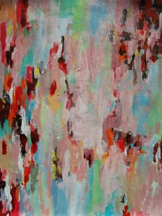 Original abstract painting in red and green on 16 by garimadesigns, $45.00