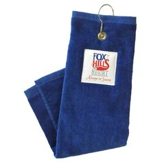 Golf towel with hook and grommet...Plush velour golf towel, tri-folded with hook & grommet. 100% cotton terry fabric.