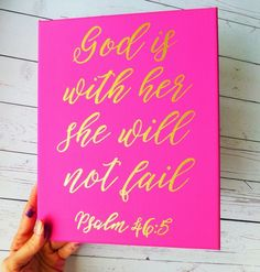 Bible Verse Canvas Painting - Canvas Sign - Girls Wall Art - Pink and Gold Decor - Bible Verse Sign - Canvas Painting - Home Decor  This sign is shown in hot fuschia pink, however it can be painted in any other color scheme you could need. Select a color from the drop down menu when ordering, if you want one that is not listed there simply let me know in the notes to seller box when ordering. The text will be painted in gold leaf, but if you want it in black, silver or white let me know in…