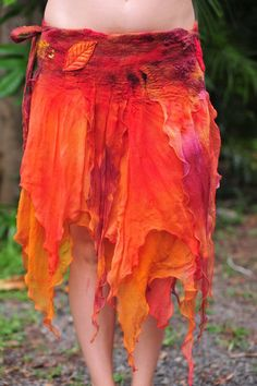 Felt Fairy Autumn Leaf magical Wrap Silk Skirt