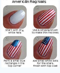 American flag nails DIY perfect for 4th of July:) #naildiy