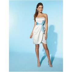 BEACH WEDDING DRESSES | ... Short White Blue Sash Strapless Casual Beach Wedding Dresses hiwdt15