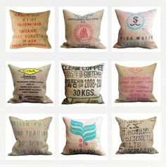 Velvet Bean - Burlap Coffee sack cushions. Great for outdoors!