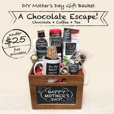 DIY Mother's Day Gift Basket – A Chocolate Escape! Under $25 with free printable
