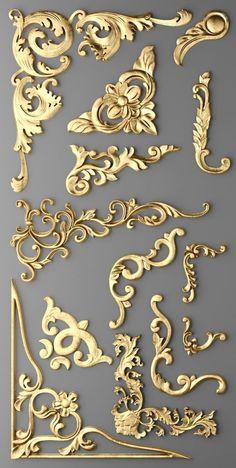 cartouches set 3d model Door Design, Wall Design, House Design, Design Homes, Design Bedroom, Art Nouveau, Fake Tattoo, Tattoo Sticker, Motif Art Deco