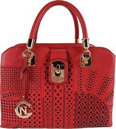 Nicole Lee Sophia Laser Cut Boston Bag Red - via eBags.com!