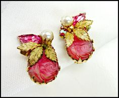 Clip on Earrings of Pink Molded Glass Rhinestone Rose in gold setting