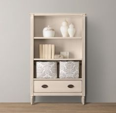 RH baby&child's Emelia Bookcase:The streamlined, neoclassic design of our Emelia collection finds its feminine grace with tapered legs, fluted sides and feet, and carved floral accents.