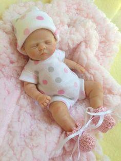 "OOAK MINI Prosculpt polymer clay newborn baby girl sculpt art doll 5 1/2""LOOK!!"