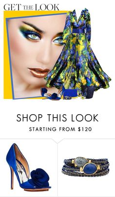 """""""Blue & Yellow"""" by flowerchild805 ❤ liked on Polyvore featuring Renato Balestra, Badgley Mischka and Gas Bijoux"""