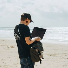 Who brings a laptop to the beach? Our tech director apparently Bring It On, Bomber Jacket, Laptop, Tech, Instagram, Technology, Bomber Jackets, Laptops