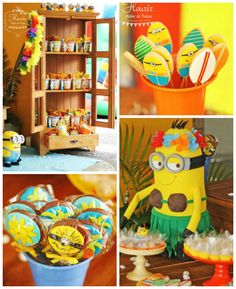 Minions in Hawaii themed birthday party via KarasPartyIdeas.com | Party supplies, cake, favors, desserts, printables and more! #minionparty (2)