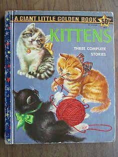 "Vintage Giant Little Golden Book KITTENS Eloise Wilkin 1958 ""A"" 1st ed rare oop!"
