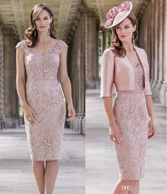 John Charles Pink Appliqued Mother Of The Bride Dresses 2017 V Neckline Beading Half Sleeve Jacket Mothers Dresses Knee Length Bridalwear Appliqued Mother Of The Bride Dresses Half Sleeve Lace Mothers Dresses 2017 Beading Formal Party Gowns Online with $146.29/Piece on Yaostore's Store | DHgate.com