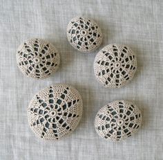 Crochet Lace Stones, Crocheted Lace Pebbles, Crochet Beach Stones, Home Decor, Collection of 5.
