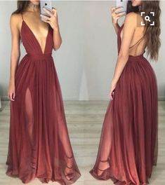 Sexy A-line V-neck Long Burgundy Prom Dress with Side Slit