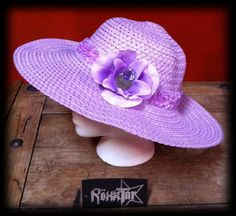 Check out this item in my Etsy shop https://www.etsy.com/listing/103080176/wide-brim-sunhat-purple-with-organza
