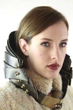 Couture Avant Garde Futuristic Steampunk Leather Queen's Collar. $245.00, via Etsy.