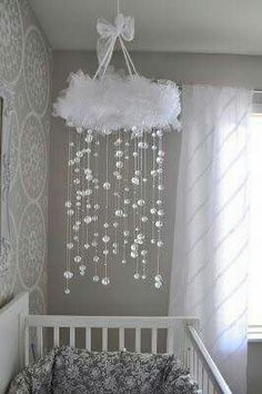 """White Tulle Cloud Baby Mobile with """"rain"""" falling from the cloud."""