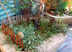 I love the idea of making a Fairy Garden on top of rock....