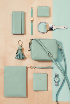 (Sea and) be seen in our new spring seaglass collection. Wallets, watches, passport cases, bags and Q accessories–there's a variety of pieces in this spring hue.