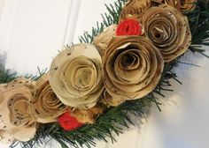 Christmas Wreath made with old sheet music