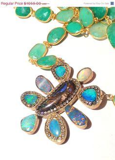 JULY SALE Multi Opal and Chrysoprase Gold by YaronaJewelryDesign, $953.10