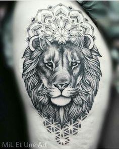 50 of the Most Beautiful Mandala Tattoo Designs for Your Body & Soul - lion mandala tattoo © tattoo artist MiL Et Une ❤🐵❤🐵❤🐵❤ - Mandala Tattoo Design, Animal Mandala Tattoo, Mandala Tattoo Mann, Butterfly Mandala Tattoo, Forearm Mandala Tattoo, Tattoo Designs, Lion Tattoo Design, Hand Tattoo, Soul Tattoo