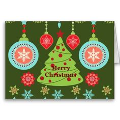pictures of retro christmas cards | Retro Holiday Merry Christmas Tree Snowflakes Greeting Cards