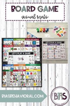 Board Game Visual Mats provide a visual support to accompany your favorite board games. These mats can be used to assist with following rules, to prompt play actions or to model communication.
